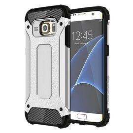 Ntech Ntech Samsung Galaxy S7 Edge Dual layer Rugged Armor hoesje /  Hard PC & TPU Hybrid case - Zilver