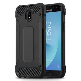 Ntech Ntech Samsung Galaxy J3 2017 Dual layer Rugged Armor hoesje /  Hard PC & TPU Hybrid case - Zwart