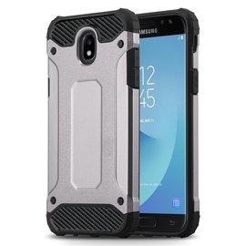 Ntech Ntech Samsung Galaxy J3 2017 Dual layer Rugged Armor hoesje /  Hard PC & TPU Hybrid case - Zilver