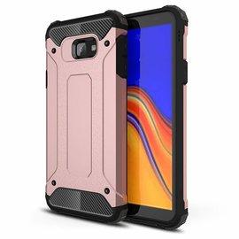 Ntech Ntech Samsung Galaxy J4+ Plus Dual layer Rugged Armor hoesje /  Hard PC & TPU Hybrid case - Rose Goud