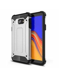 Ntech Ntech Samsung Galaxy J4+ Hybride Armor Hoesje - Zilver