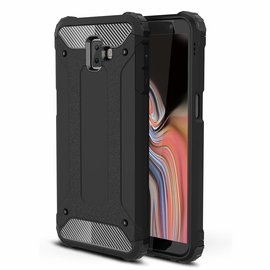 Ntech Ntech Samsung Galaxy J6+ Plus Dual layer Rugged Armor hoesje /  Hard PC & TPU Hybrid case - Zwart