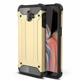 Ntech Ntech Samsung Galaxy J6+ Plus Dual layer Rugged Armor hoesje /  Hard PC & TPU Hybrid case - Goud