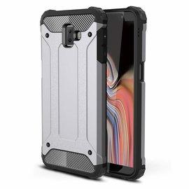 Ntech Ntech Samsung Galaxy J6+ Plus Dual layer Rugged Armor hoesje /  Hard PC & TPU Hybrid case - Zilver