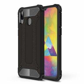 Ntech Ntech Samsung Galaxy M20 Dual layer Rugged Armor hoesje /  Hard PC & TPU Hybrid case - Zwart
