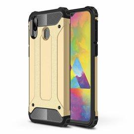 Ntech Ntech Samsung Galaxy M20 Dual layer Rugged Armor hoesje /  Hard PC & TPU Hybrid case - Goud