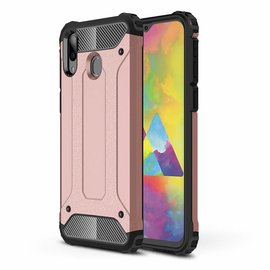 Ntech Ntech Samsung Galaxy M20 Dual layer Rugged Armor hoesje /  Hard PC & TPU Hybrid case - Rose Goud