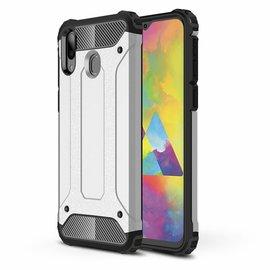 Ntech Ntech Samsung Galaxy M20 Dual layer Rugged Armor hoesje /  Hard PC & TPU Hybrid case - Zilver