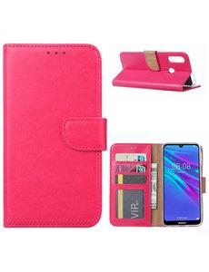 Ntech Ntech Portemonnee Hoesje/Book Case met Opbergvakjes & Magneetflapje voor Huawei Y6 2019 - Roze/Pink