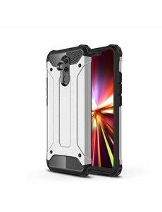 Ntech Ntech Huawei Mate 20 Lite Dual layer Armor Hoesje - Zilver