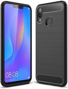 Merkloos Ntech Huawei P Smart Plus Geborsteld TPU Hoesje Zwart