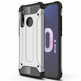 Ntech Ntech Huawei P smart+ Plus 2018 Dual layer Rugged Armor hoesje /  Hard PC & TPU Hybrid case - Zilver