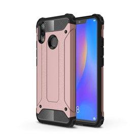 Ntech Ntech Huawei P smart 2019 Dual layer Rugged Armor hoesje /  Hard PC & TPU Hybrid case - Rose Goud