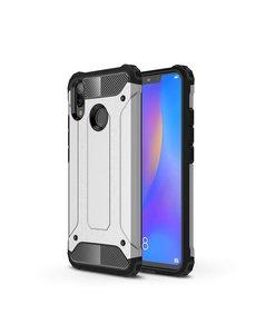 Ntech Ntech Huawei P Smart 2019 Dual layer Armor Hoesje - Zilver