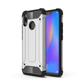 Ntech Ntech Huawei P smart 2019 Dual layer Rugged Armor hoesje /  Hard PC & TPU Hybrid case - Zilver