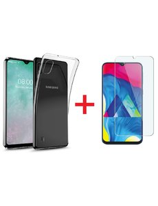 Ntech Ntech Samsung Galaxy A10 Hoesje Transparant TPU + Glazen Screenprotector