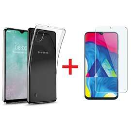 Ntech Ntech Samsung Galaxy A10  Hoesje Transparant TPU Siliconen Soft Case + Tempered Glass Screenprotector