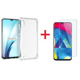 Ntech Ntech Samsung Galaxy A10 Anti Shock Hoesje Transparant TPU Siliconen Soft Case + Tempered Glass Screenprotector