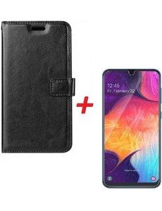 Merkloos Samsung Galaxy A70/A70s Portemonnee hoesje zwart met Glazen screenprotector