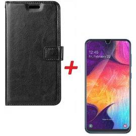 Merkloos Samsung Galaxy A70 Portemonnee hoesje zwart met Tempered Glas Screen protector