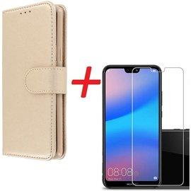 Merkloos Huawei P20 Lite Portemonnee hoesje goud met Tempered Glas Screen protector