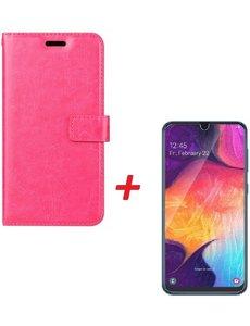 Ntech Ntech Samsung Galaxy A40 Portemonnee hoesje Roze met Glazen screenprotector