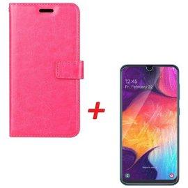 Ntech Ntech Samsung Galaxy A40 Portemonnee hoesje Roze met Tempered Glas Screen protector