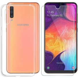 Ntech Ntech Samsung Galaxy A70 Hoesje Transparant Siliconen Soft  TPU Case + Tempered Glass Screenprotector