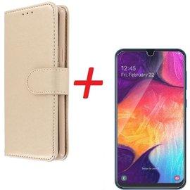 Ntech Ntech Samsung Galaxy A70 Portemonnee hoesje Goud Met Tempered Glas Screen protector