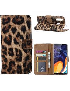 Ntech Ntech Luipaard Design Portemonnee Hoesje Met Pasjesruimte & Magneet flapje - Samsung Galaxy A60