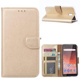 Ntech Ntech Nokia 1 Plus Portemonnee Hoesje / Book Case - Goud