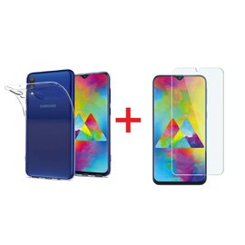 Ntech Ntech Samsung Galaxy M20 Anti Shock Hoesje Transparant TPU Siliconen Soft Case + Tempered Glass Screenprotector