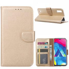 Ntech Ntech Samsung Galaxy M10 Portemonnee Hoesje / Book Case - Goud
