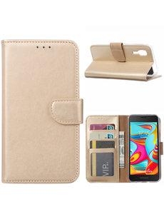 Ntech Ntech Samsung Galaxy A2 Core Portemonnee Hoesje / Book Case - Goud