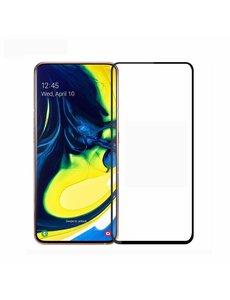 Ntech Ntech Samsung Galaxy A80/A90 full cover Screenprotector Tempered Glass - Zwart