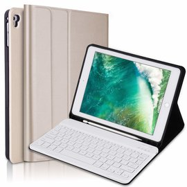 Ntech Ntech Goud Magnetically Detachable / Wireless Bluetooth Keyboard hoesje met Stylushouder voor iPad Air 1-2/ iPad Pro 9.7/ iPad 9.7 (2017-2018)