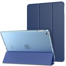 Ntech Ntech Apple iPad Air (2019) Ultra Slim Smart hoesje met Trifold Cover Stand Transparant & Blauw