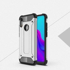 Ntech Ntech Huawei Y6 (2019) Dual layer Rugged Armor hoesje /  Hard PC & TPU Hybrid case - Zilver