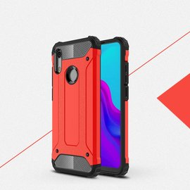 Ntech Ntech Huawei Y6 (2019) Dual layer Rugged Armor hoesje /  Hard PC & TPU Hybrid case - Rood
