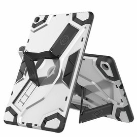 Ntech Ntech Escort Armor hoesje met standaard & 2 lagen Hybrid shockproof Case Samsung Galaxy Tab A 10.1 (2019) - Zilver