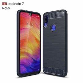 Ntech Ntech Soft Brushed TPU Hoesje voor Xiaomi Redmi Note 7 -  Donker Blauw