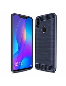Ntech Ntech Soft Brushed TPU Hoesje voor Huawei P Smart Plus (2018) - Donker Blauw