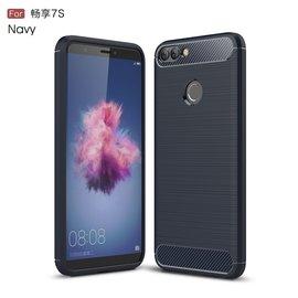 Ntech Ntech Soft Brushed TPU Hoesje voor Huawei P Smart (2018) -  Donker Blauw