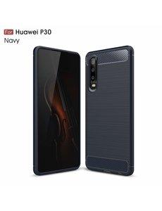 Ntech Ntech Soft Brushed TPU Hoesje voor Huawei P30 - Donker Blauw