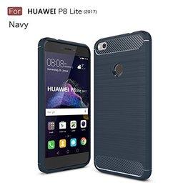 Ntech Ntech Soft Brushed / Geborsteld Hoesje voor Huawei P8 Lite 2017 - Donker Blauw