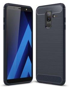 Ntech Ntech Soft Brushed TPU Hoesje voor Samsung Galaxy A6+ (2018) - Donker Blauw