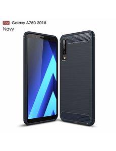 Ntech Ntech Soft Brushed TPU Hoesje voor Samsung Galaxy A7 (2018) - Donker Blauw