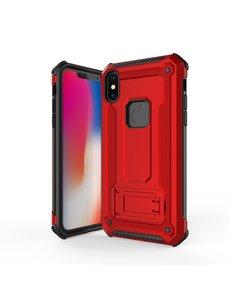 Ntech Ntech Apple iPhone Xs Max - Armor hoesje met Kickstand - Rood