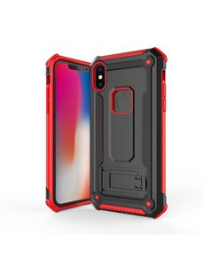 Ntech Ntech Apple iPhone Xs Max - Armor hoesje met Kickstand Zwart & Rood