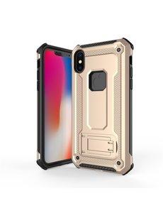 Ntech Ntech Apple iPhone Xs Max - Armor Hoesje met Sta-Functie - Goud